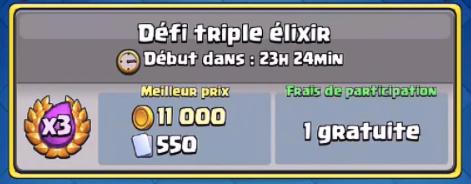 Le Défi Triple Elixir sur Clash Royale le 04 Août